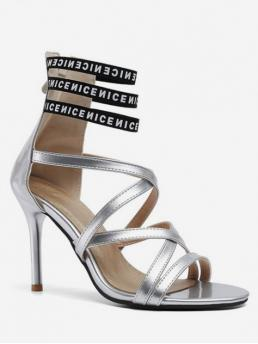 Summer PU Rubber Letter Zip Stiletto Ankle Dress and Party Sexy For Sexy Letter High Heel Sandals