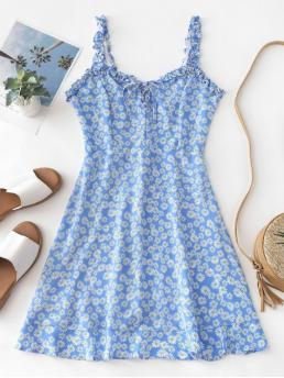 No Summer Nonelastic Floral Lace Sleeveless Straps Mini A-Line Day Fashion Smocked Lace Up Floral Mini Dress