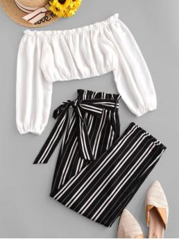 Yes Fall and Spring Pockets and Sashes Striped Flat Elastic High Nonelastic Long Off Regular Fashion Daily and Going Contrast Off Shoulder Stripes Paperbag Pants Set