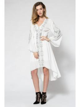 Fall and Spring and Summer No Floral Long V-Collar Ankle-Length Embroidered High-Low Maxi Dress