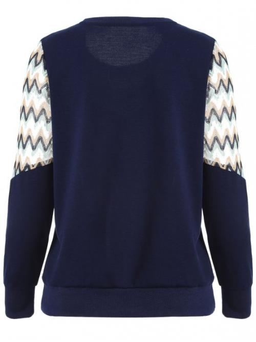 Fall and Spring Striped Casual Full Regular See-Through Panelled Sweatshirt