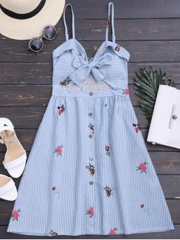 Summer No Floral and Striped Embroidery Sleeveless Knee-Length Spaghetti A-Line Casual and Day and Going Novelty Bowknot Smocked Cut Out Slip Dress