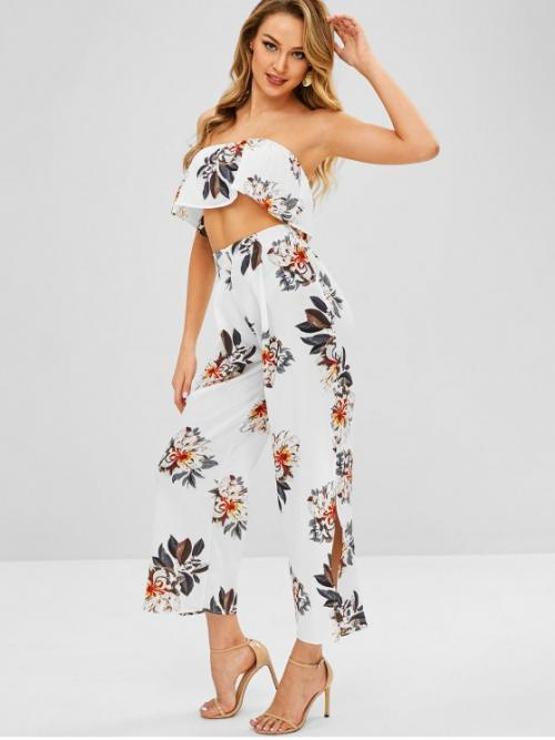 No Summer Flounce Floral Flat Zipper High Sleeveless Strapless Regular Casual Beach and Casual and Daily Floral Bandeau Top and Split Pants