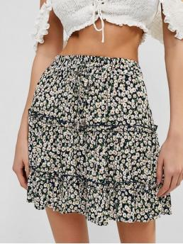 No Summer Elastic Flounce Floral A-Line Mini Daily and Going Fashion Floral Flounce Mini Frilled Skirt