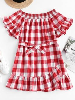 Yes Summer Nonelastic Plaid Ruffles Short Off Mini A-Line Casual and Day Fashion Ruffles Belted Plaid Off Shoulder Dress