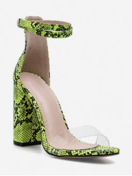 Summer PU 11CM Rubber Animal Buckle Chunky Ankle Daily and Party Fashion For Neon Snake Pattern Chunky Heel Sandals