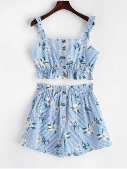 No Summer Button Floral and Striped Flat Elastic High Nonelastic Sleeveless Square Regular Fashion Beach Stripes Floral Buttoned Paperbag Shorts Set