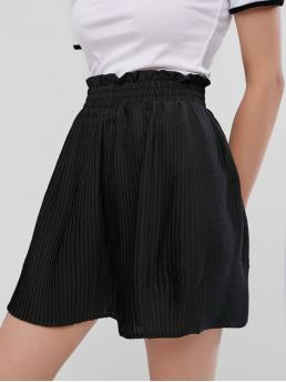 Summer Pleated Solid Pleated Elastic High Loose Casual Pleated Wide Leg Paperbag Shorts