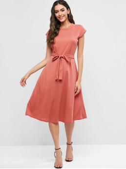 Yes Summer Solid Short Crew Mid-Calf A-Line Casual and Work Brief Cap Sleeves Belted Solid Flare Dress