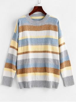 Autumn and Winter Others Nonelastic Full Drop Crew Regular Loose Fashion Daily Pullovers Color Block Drop Shoulder Loose Sweater