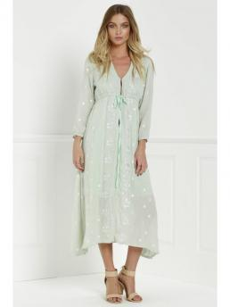 Fall and Spring No Floral 3/4 Mid-Calf V-Collar Straight Beach and Day and Night Bohemian Midi Floral Embroidered Dress