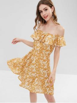 No Summer Floral Ruffles Short Off Mini A-Line Day and Vacation Fashion Ruffles Floral Off Shoulder Dress