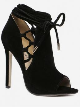 Suede Rubber Solid Lace-Up Stiletto Gladiator Daily and Party Fashion For Hollowed Peep Toe High Heel Sandals