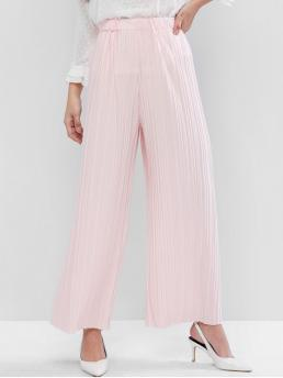 Fall and Spring Elastic Wide Solid Pleated Loose High Fashion High Waisted Wide Leg Pleated Pants