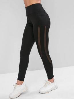 Fall and Spring 7/8 Mesh Solid High Sports Active Side Pockets Mesh Insert High Waisted Leggings