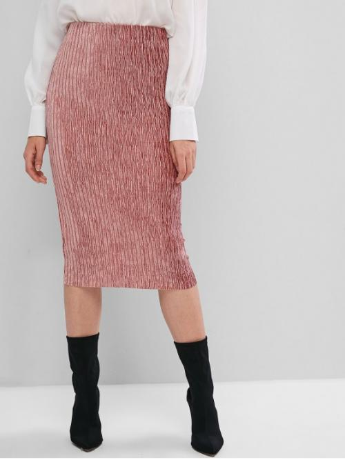 Elastic Fall and Spring Elastic Solid Bodycon Knee-Length Daily and Going Fashion Metallic Thread Velvet Pleated Bodycon Skirt