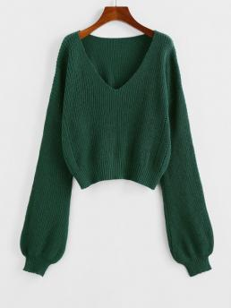 Pretty Full Sleeve Pullovers Polyacrylic Solid Plunge Drop Shoulder Lantern Sleeve Sweater