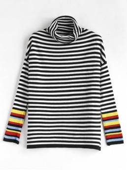 Autumn and Spring and Winter Stripe Elastic Flat Full Drop Turtlecollar Regular Regular Fashion Daily and Outdoor Pullovers Turtleneck Striped Sweater