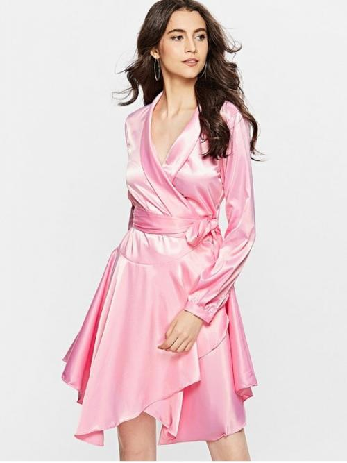 No Fall and Spring Solid Long V-Collar Mini Wrap A-Line Day and Work Fashion Long Sleeve Satin Wrap Dress