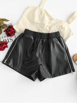 Autumn and Spring Zippers Solid Flat Elastic High Regular Fashion High Rise Faux Leather Shorts