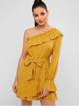 Yes Fall and Spring Nonelastic Solid Flounce Long One-Shoulder Mini Tunic Straight Casual and Day and Holiday Elegant Flounce One Shoulder Tunic Dress