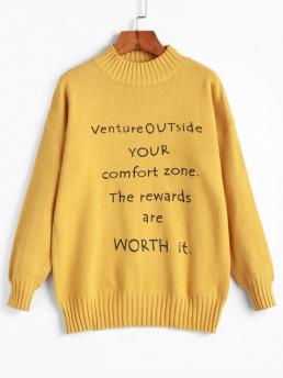 Autumn and Spring and Winter Letter Elastic Full Drop Mock Regular Regular Fashion Daily and Going Pullovers Mock Neck Slogan Graphic Pullover Sweater
