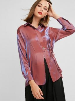 Autumn and Spring Tie Solid Full Drop Long Shirt Fashion Daily and Outdoor Button Front Shiny Tied Drop Shoulder Tunic Blouse