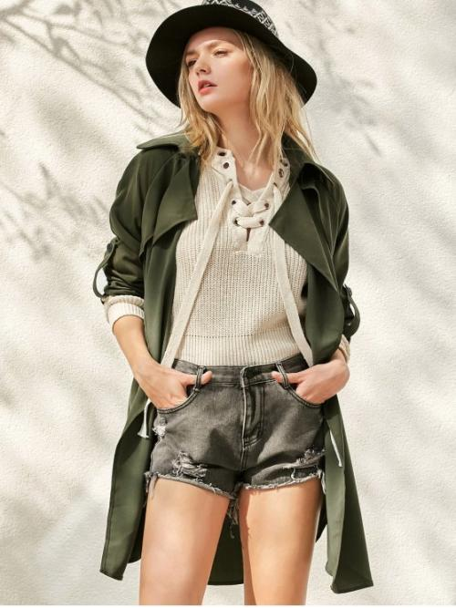 Fall Fashion Button Solid Lapel Three Long Slim Trench Buttoned Waterfall Trench Coat