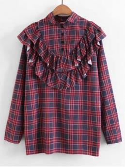 Autumn and Spring Ruffles Plaid Full Regular Stand Fashion Casual Buttoned Ruffles Plaid Blouse