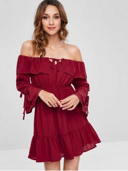 No Summer Solid Long Off Mini A-Line Beach and Vacation Cute Off The Shoulder Chiffon Mini Dress