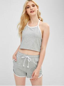 Summer Others Pleated Elastic Mid Sleeveless Halter Skinny Fashion Casual and Daily and Sports Crop Top and Dolphin Shorts Two Piece Set