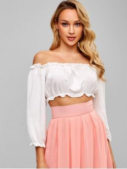 Summer Bowknot and Ruffles Solid Full Short Off Casual Daily Bowknot Embellished Off Shoulder Crop Blouse