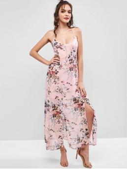 No Summer Nonelastic Floral Criss-Cross and Lace Sleeveless Spaghetti Ankle-Length A-Line Beach and Vacation Fashion Floral Criss Cross Lace Up Slit Maxi Dress