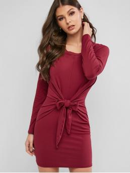 No Fall and Spring Solid Long Round Mini Tee Bodycon Casual and Day Brief Long Sleeve Tie Waist Bodycon Tee Dress