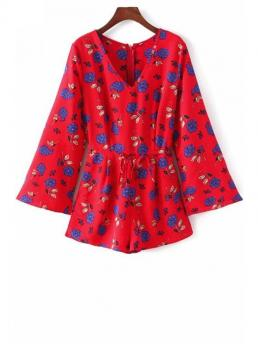 No Floral Regular Fashion Long Sleeve Drawstring Design Playsuit