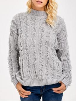 Fall and Spring and Winter Others Fashion High Full Pullovers Fringe Design Drop Shoulder Sweater