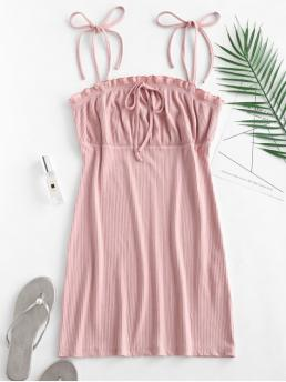 Pink Solid Color Sleeveless Polyester,polyurethane,rayon Waist Cami Dress Affordable