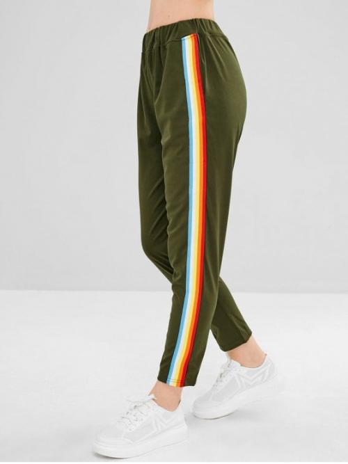 Fall and Spring No Elastic Straight Striped Regular High Fashion Colorful Stripes Straight Pants