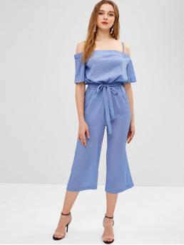 Spring and Summer Yes Pockets Solid Nonelastic Short Cold Spaghetti Capri Regular Fashion Daily Cold Shoulder Wide Leg Jumpsuit