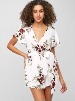 Fall and Spring No Sashes Floral Nonelastic Short Butterfly Plunging Mini Loose Fashion Daily Plunging Neck Floral Print Layered Romper