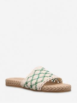 Summer Mesh 2CM Rubber Geometric Slip-On Flat Slides Beach and Casual and Daily Bohemian and Casual and Ethnic and Fashion and Leisure For Geometric Crochet Flat Outdoor Slippers