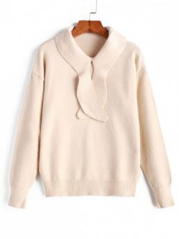Autumn and Spring and Winter Solid Elastic Full Drop Turn-down Regular Regular Fashion Daily and Going Pullovers Drop Shoulder Pullover Solid Sweater