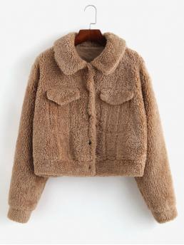 Winter Nonelastic Solid Single Turn-down Full Short Wide-waisted Daily Fashion Snap Button Cropped Teddy Coat