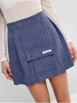 No Fall and Spring Covered Pockets Letter A-Line Mini Daily Fashion Corduroy Pocket Letter Mini Skirt