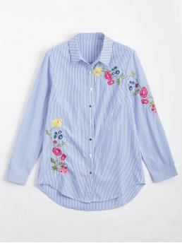 Autumn and Spring Embroidery Striped Full Regular Shirt Fashion Casual Button Down Floral Embroidered Stripes Shirt