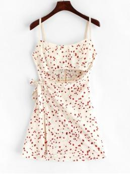 No Summer Nonelastic Floral Cut Sleeveless Spaghetti Mini A-Line Vacation Fashion Smocked Floral Cut Out Mini Dress