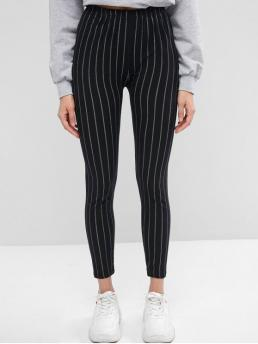 Fall 7/8 Striped High Daily Casual Striped High Waist Skinny Leggings