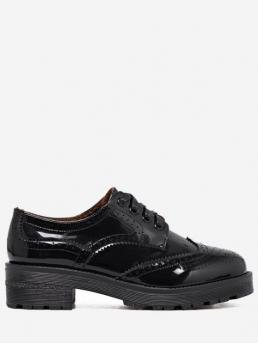 Black Spring/Fall Others Casual Patent Lace-Up Round Closed For Ballet Wingtip Contrast Color Brogues Flat Shoes