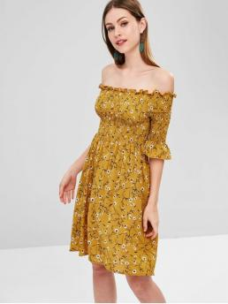 No Summer Floral 3/4 Off Mini A-Line Day and Vacation Fashion Smocked Off Shoulder Floral Dress