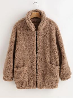 Winter Solid Stand-Up Full Regular Wide-waisted Streetwear Fluffy Faux Fur Winter Teddy Coat